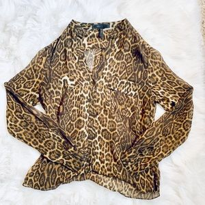 BCBG MaxAzria V-Neck Leopard Print Blouse-S *F567*